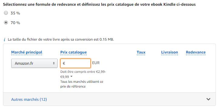 Prix de vente et redevance ebook Amazon KDP en moins de 5 min